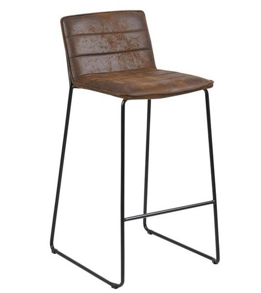 Mine barkruk bruin metaal frame zithoogte 73cm