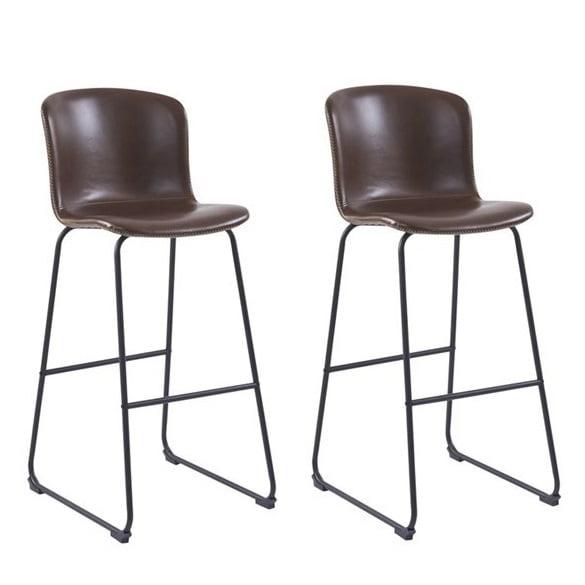 Monique barkrukken bruin kunstleder metaal frame zithoogte 75cm set van 2