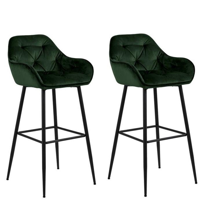 Salzburg barkrukken met armleuning groen velvet stof metaal zwart onderstel zithoogte 79cm set van 2